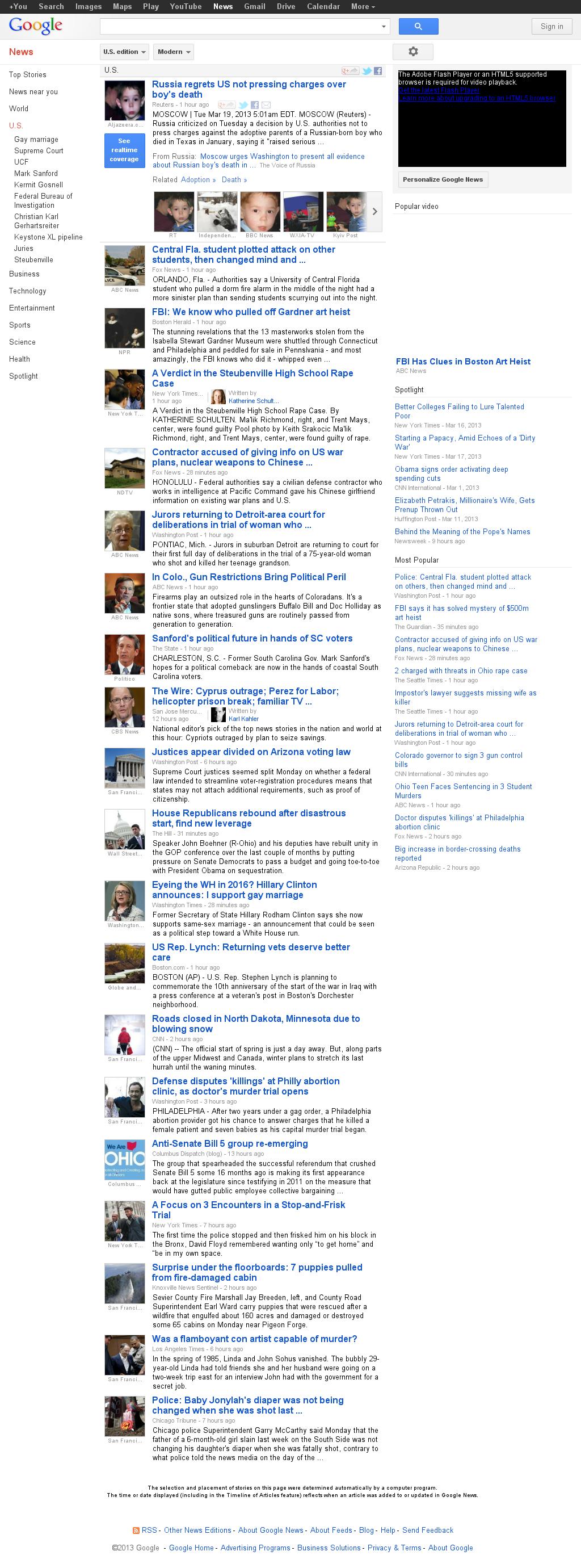 Google News: U.S. at Tuesday March 19, 2013, 10:10 a.m. UTC