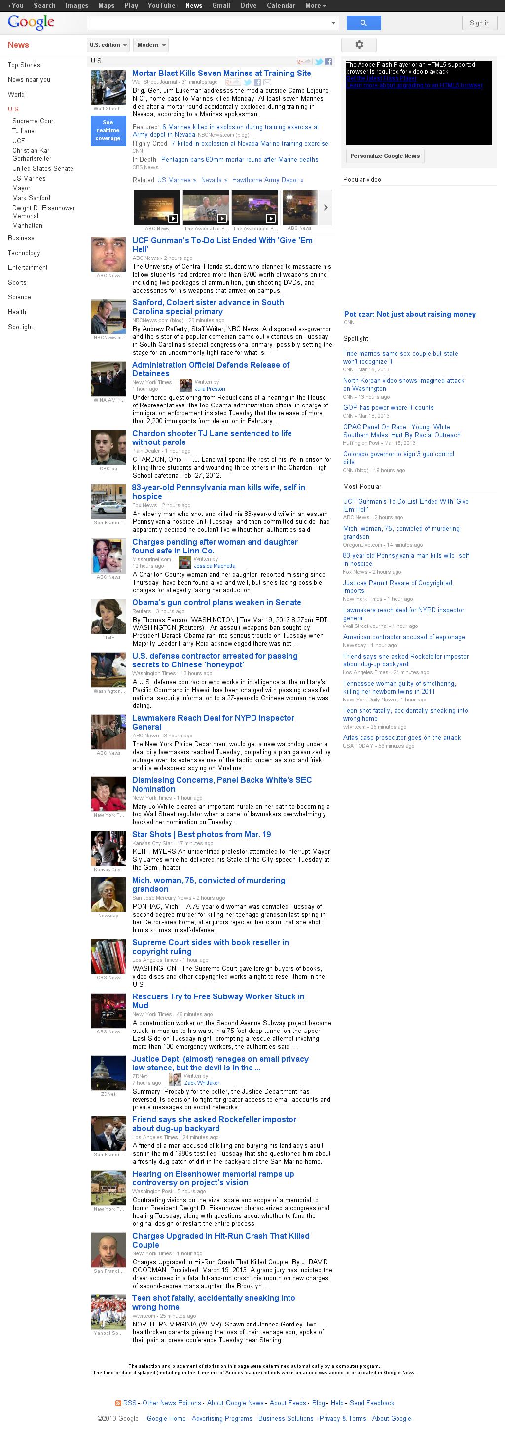 Google News: U.S. at Wednesday March 20, 2013, 4:11 a.m. UTC
