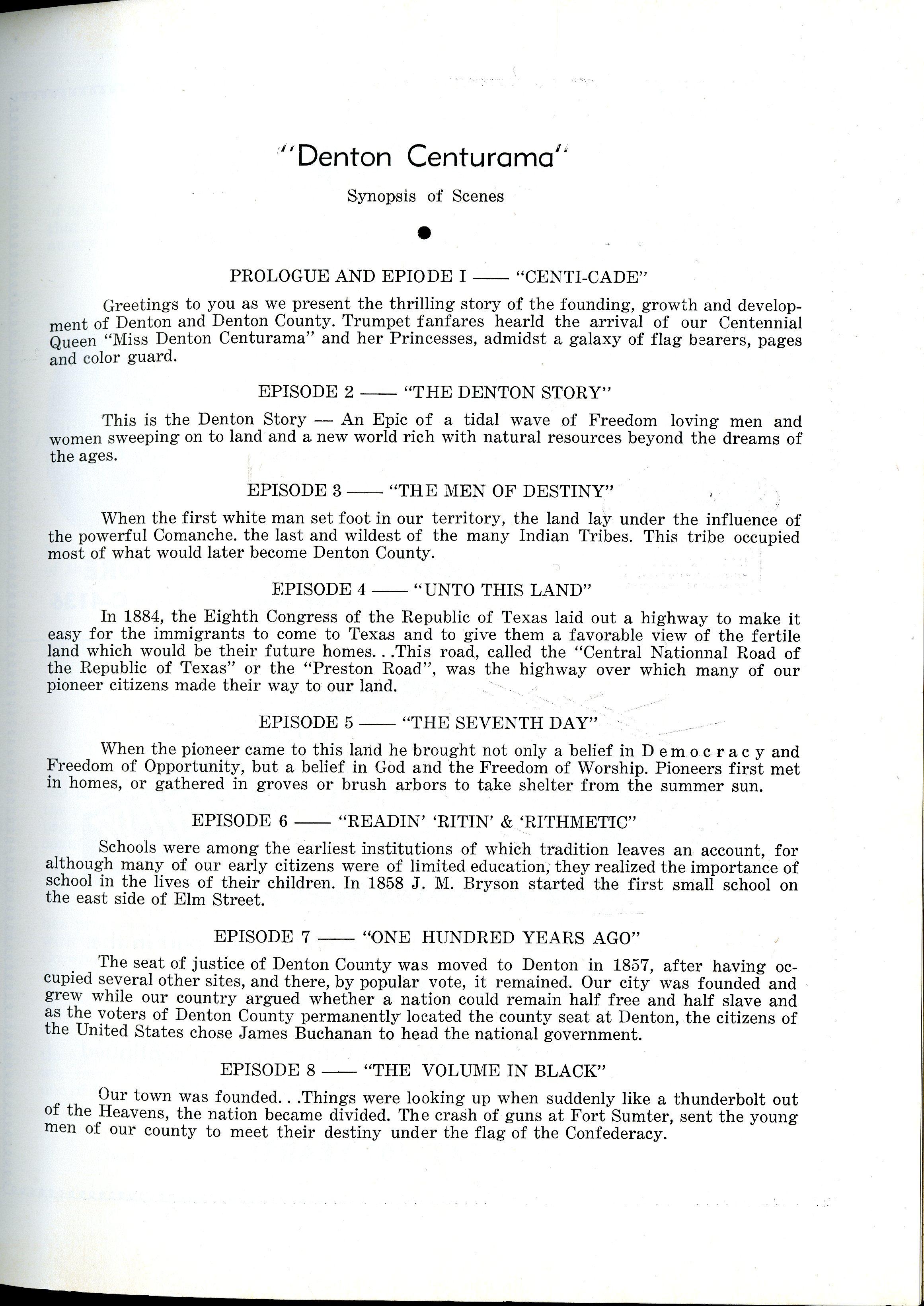 Denton Centurama Program First Page